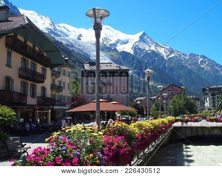 Chamonix Mont Blanc, France Europe On July 2016: Colorful Flowers In Resort Travel Town With Landsca
