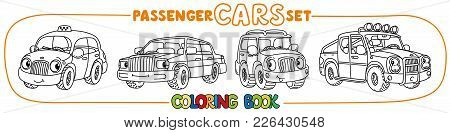 Pickup Truck , Hatchback, Retro Taxi Car And Offroader. Small Funny Vector Cute Passenger Cars With