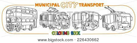 Bus, Trolley Or Trolleybus, Tram, And London Double-decker Bus. Small Funny Vector Cute Cars With Ey