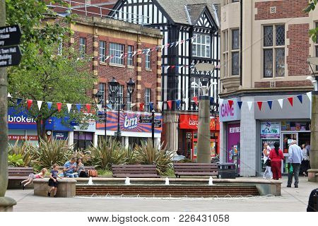 Rotherham, Uk - July 10, 2016: People Visit Rotherham, Uk. Rotherham Is A Large Town In South Yorksh