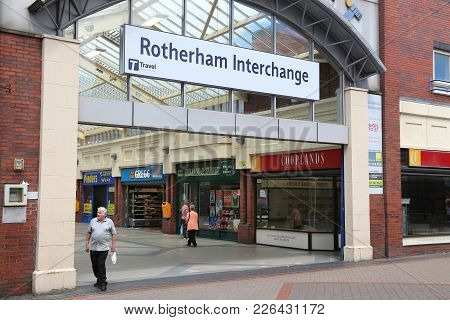 Rotherham, Uk - July 10, 2016: People Visit Rotherham Interchange, Uk. Rotherham Is A Large Town In