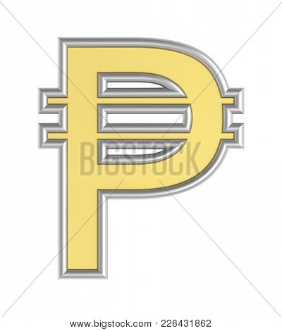 Peso sign from yellow with silver shiny frame alphabet set, isolated on white. 3D illustration with clipping path.