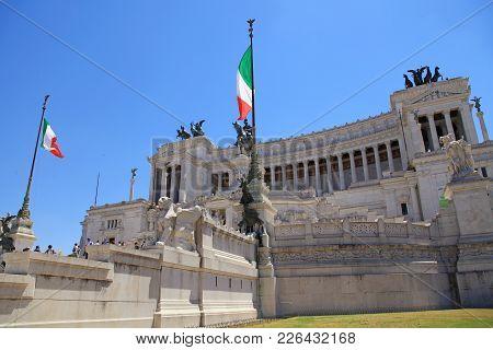 Rome, Italy - July 17, 2017: Monument Vittorio Emanuele Ii Or Altar Of The Fatherland In Venezia Squ