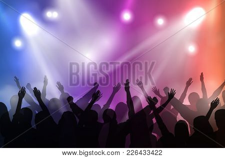 Vector Concert Stage Illuminated With Colorful Lights And Silhouettes Of Cheering Crowd