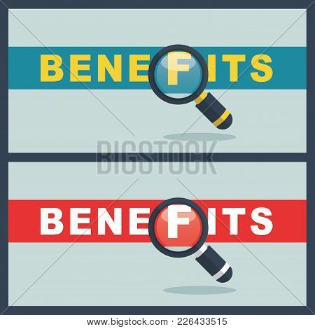 Illustration Of Benefits Word With Magnifier Concept