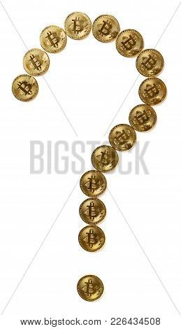 Bitcoins Shaped Like A Question Mark With Clipping Path Concept Of Uncertain Future Of Crypto Curren
