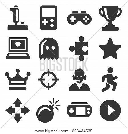 Video Game And Controller Icons Set. Vector Illustration