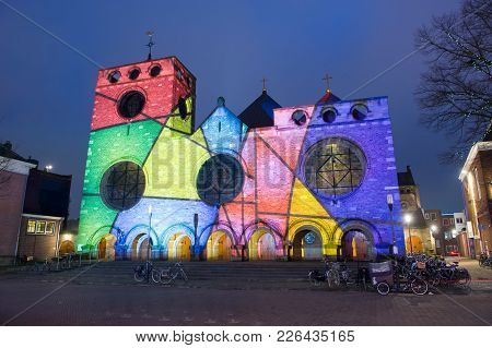 Enschede, Netherlands - Dec 22, 2017: : In The Centre Of The Dutch City Enschede The Jacobus Chuch I