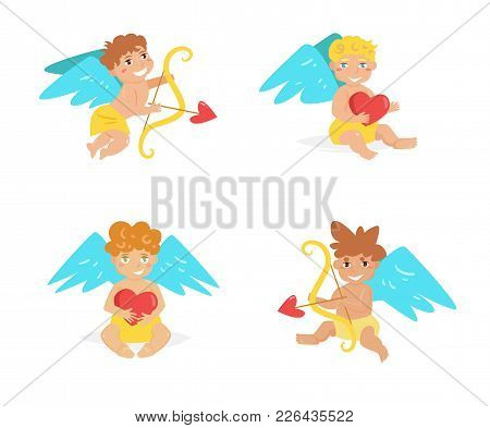 Cupid. Vector. Cartoon. Isolated Art On White Background. Flat Set Collection