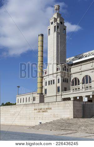Barcelona,spain-july 19,2011: Olympic Stadium,estadi Olimpic De Montjuic Lluis Companys, Exterior Fa