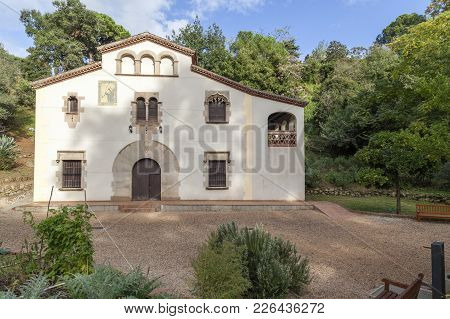 Barcelona,spain-october 28,2011: Traditional Catalan Rural House, Masia, In Old Botanical Garden, Ja