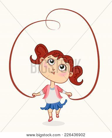 Cute Baby Girl With Jump Rope Doing Skipping Against White Background