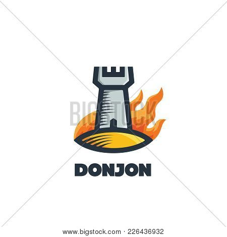 Flat Vector Emblem Of Burning Tower Or Fortress. Outline Donjon Logotype