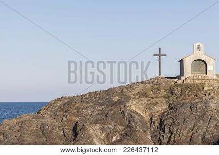 Ancient Chapel And Cross, Rock Formation And Sea, Collioure, Cote Vermeille, Occitanie, France.