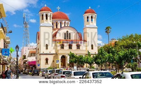 Rethymno, Greece - May 3, 2016: Touristic Attraction Eastern Orthodox Church Of Four Witnesses. Tour
