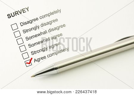 Agree Survey Feed Back. Agreement Concept. Marked Checkbox Between Consent Or Disagree - Completely,