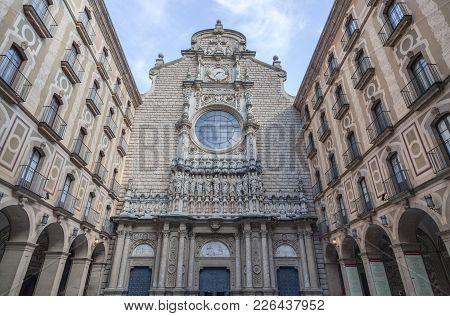 Montserrat,spain-december 2,2011: Benedictine Abbey Monastery Of Santa Maria De Montserrat,facade Ch
