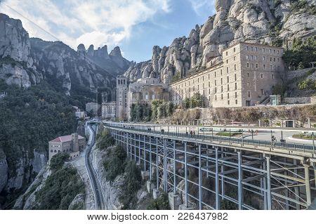 Montserrat,spain-december 2,2011: Benedictine Abbey Monastery Of Santa Maria De Montserrat, Mountain