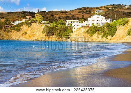 Sunny Sandy Livadi Beach In Sea Bay Of Resort Village Bali. Sea Waves Wash The Sandy Beach. View Of