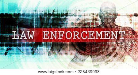Law enforcement Sector with Industrial Tech Concept Art 3D Render