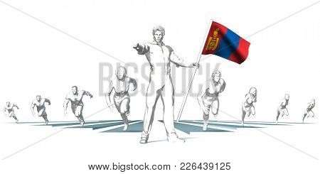 Mongolia Racing to the Future with Man Holding Flag