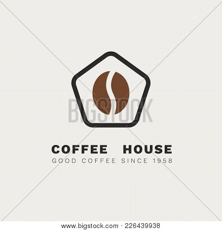 Minimalistic Vector Logo For Coffee Shop. Outline Logotype With Coffee Bean And Stylized House