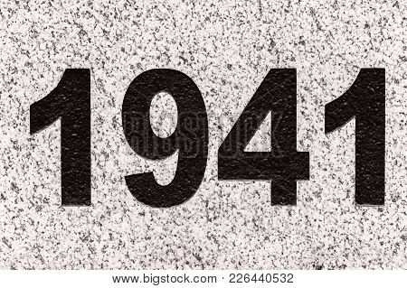 Black Numbers 1941 On A Grey Marble Slab. 1941 Year The Date Of The Beginning Of The Great Patriotic