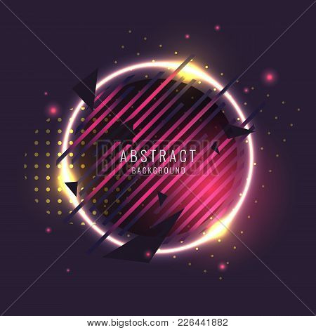 Abstract Poster For The Placement Of Text And Information. Geometric Shapes And Neon Glow Against A