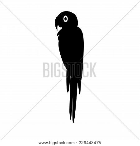 Macaw Ara Parrot Silhouette Icon In Flat Style. Brazilian Tropical Bird Symbol On White Background
