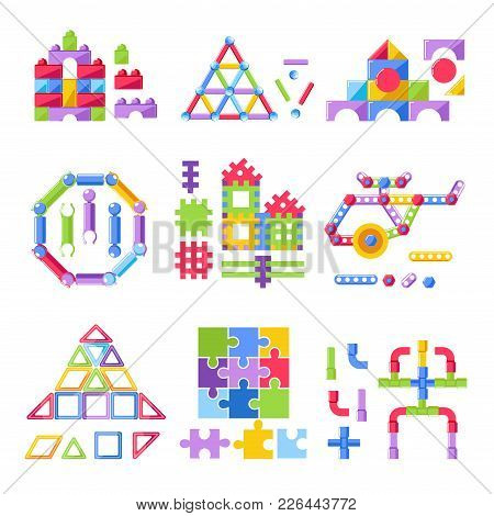 Kid Toy Building Kit Or Constructor Toys Flat Icons. Vector Isolated Set Of Construction House, Rock