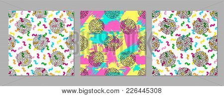 Colorful Geometric Seamless Patterns. Bright Backgrounds. 80's - 90's Years Design Style