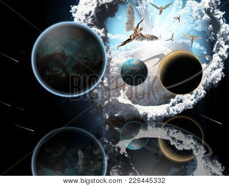 Surreal composition. Exo planets and earth with artificial planetary ring. Angels fly in the sky. 3D rendering