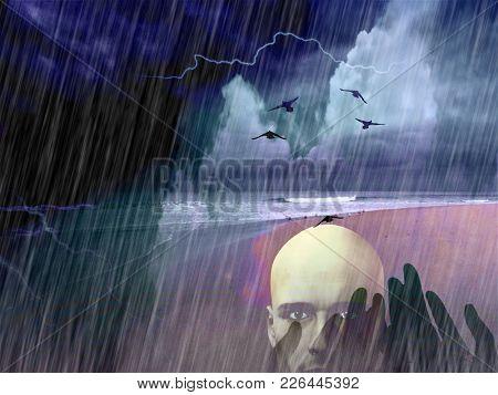 Spiritual composition. Birds flies above ocean shore. Bald man face and praying hands. Heavy rain. 3D rendering