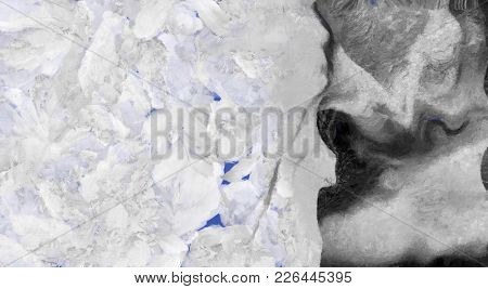 Abstract painting with blue and black shapes. 3D rendering