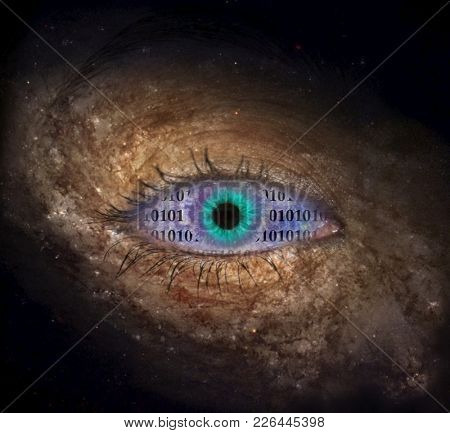 Eye in space with binary code. 3D rendering
