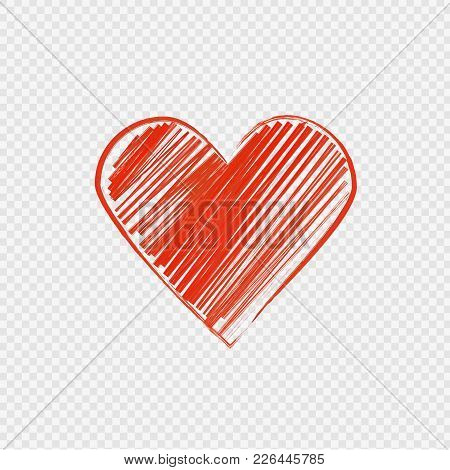 Vector Painted Symbol Of Heart On Transparent Background.
