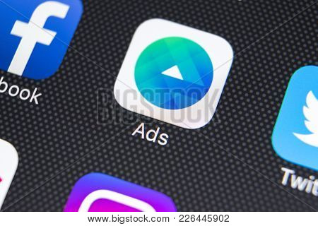 Sankt-petersburg, Russia, February 9, 2018: Facebook Ads Application Icon On Apple Iphone X Screen C