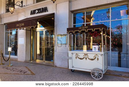 Paris, France-february 10, 2018: Angelina Is The Tearoom In Center Of Paris That Became Famous For I