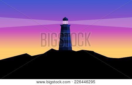 Lighthouse On Colourfull Sky Background. Beacon On Black Mountain. Flat Cartoon Vector Illustration