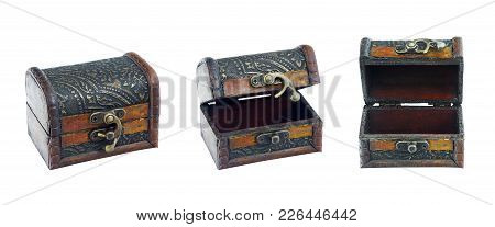 Set Vintage Box On Isolated White Background.