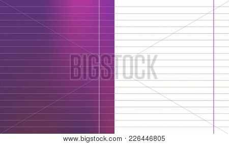 Set Of Colorful Purple Magenta Gradient Sheet With Wide Horizontal Lines Notebook School Paper With