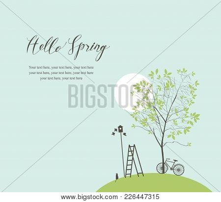 Vector Banner With Handwritten Inscription Hello Spring And Place For Text. Spring Landscape With Gr