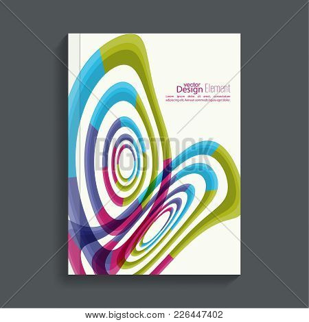 Magazine Cover With Colored Geometric Shapes. For Book, Brochure, Flyer, Poster, Booklet, Leaflet, P