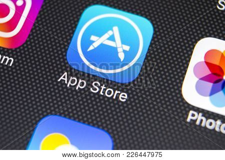 Sankt-petersburg, Russia, February 9, 2018: Apple Store Application Icon On Apple Iphone X Smartphon