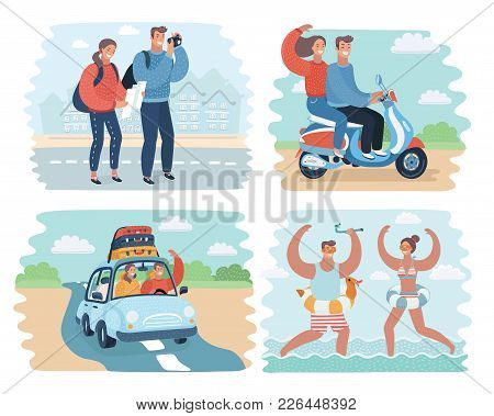 Vector Cartoon Illustration Of Couple In Summer Holidays Scene: Traveling By Car, Beach, Scooter, Ta