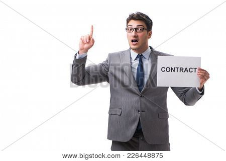 Businessman in employment contract concept isolated on white bac