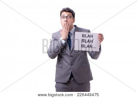 Businessman telling lies isolated on white background