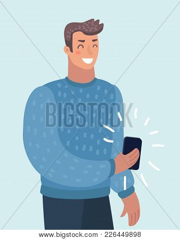 Vector Cartoon Illustration Of Man Holds Smart Phone With Messenger App, Texting Messages Via Messen