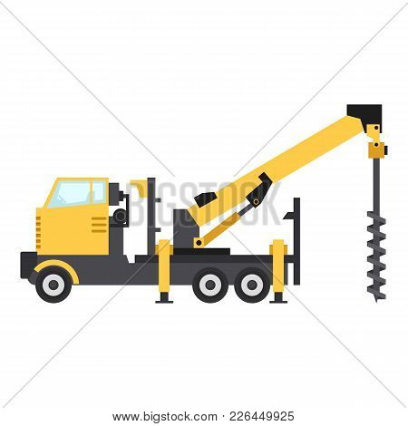 Truck Drilling Icon. Flat Illustration Of Truck Drilling Icon For Web