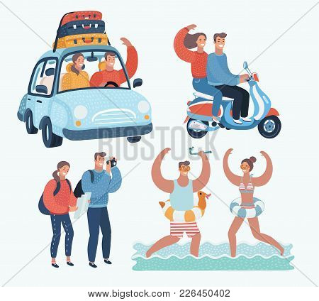 Vector Cartoon Funny Illustration Of Young Tourists Couple. Family Vacation. Together Scene. By Car,